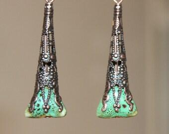Green Earrings Victorian Earrings Copper Earrings Ceramic Earrings Earthy Dangle Boho Earrings Jewelry Gift for women Gift For Her