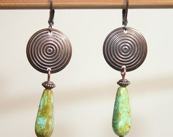 Green Turquoise Dangle Drop Copper Earrings Czech Glass Earrings Boho Chic Earrings Gift Ideas Gift for women gift for her