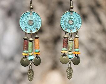 Boho Earrings Bohemian Earrings Boho jewelry Bohemian Jewelry Chandelier Earrings Gypsy Ethnic Earrings Turquoise Brass Gift for women