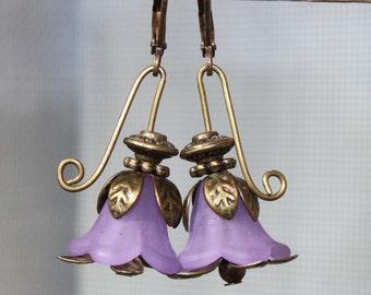 Purple Earrings Flower Earrings Jewelry Dangle Earrings Drop Earrings Lucite Earrings Small Earrings Birthday Gift For Her Gift For women