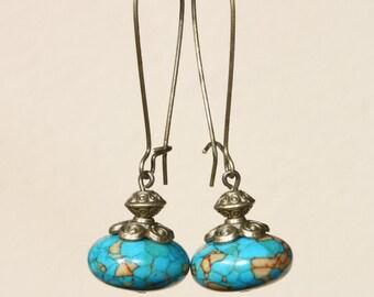 Blue Earrings Dangle Drop Earrings Boho Chic Earrings Long Earrings Gift for women Gift for her Gift