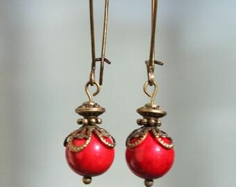 Red Earrings Dangle Earrings Drop Earrings Jewelry Boho Chic Earrings Victorian Earrings Gift for women Gift For Her Gift