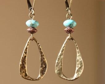 Turquoise Earrings Boho Earrings Dangle Earrings Drop Earrings Boho jewelry Brass Earrings Christmas Gifts For women Gift for her Gifts