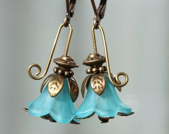 Blue Earrings Flower Earrings Lucite Earrings Dangle Earrings Jewelry Gift for Her Gift