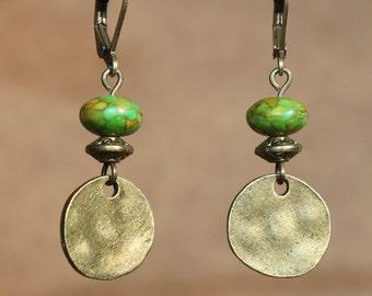 Green Earrings Dangle Earrings Drop Earrings Brass Earrings Boho Chic Earrings Everyday Earrings Christmas Gift for women Gift For Her