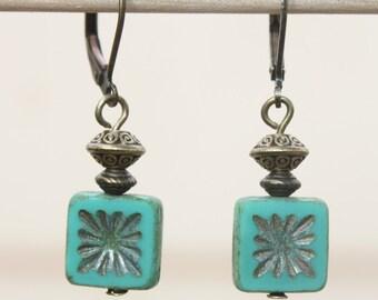 Turquoise Earrings Jewelry Dangle Drop Earrings Blue Green Earrings Czech Glass Earrings Boho Chic Earrings Small Earrings Gift For women