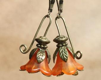 Orange Earrings Dangle Drop Earrings Jewelry Flower Earrings Lucite Earrings Gift for women Gift For her Gift