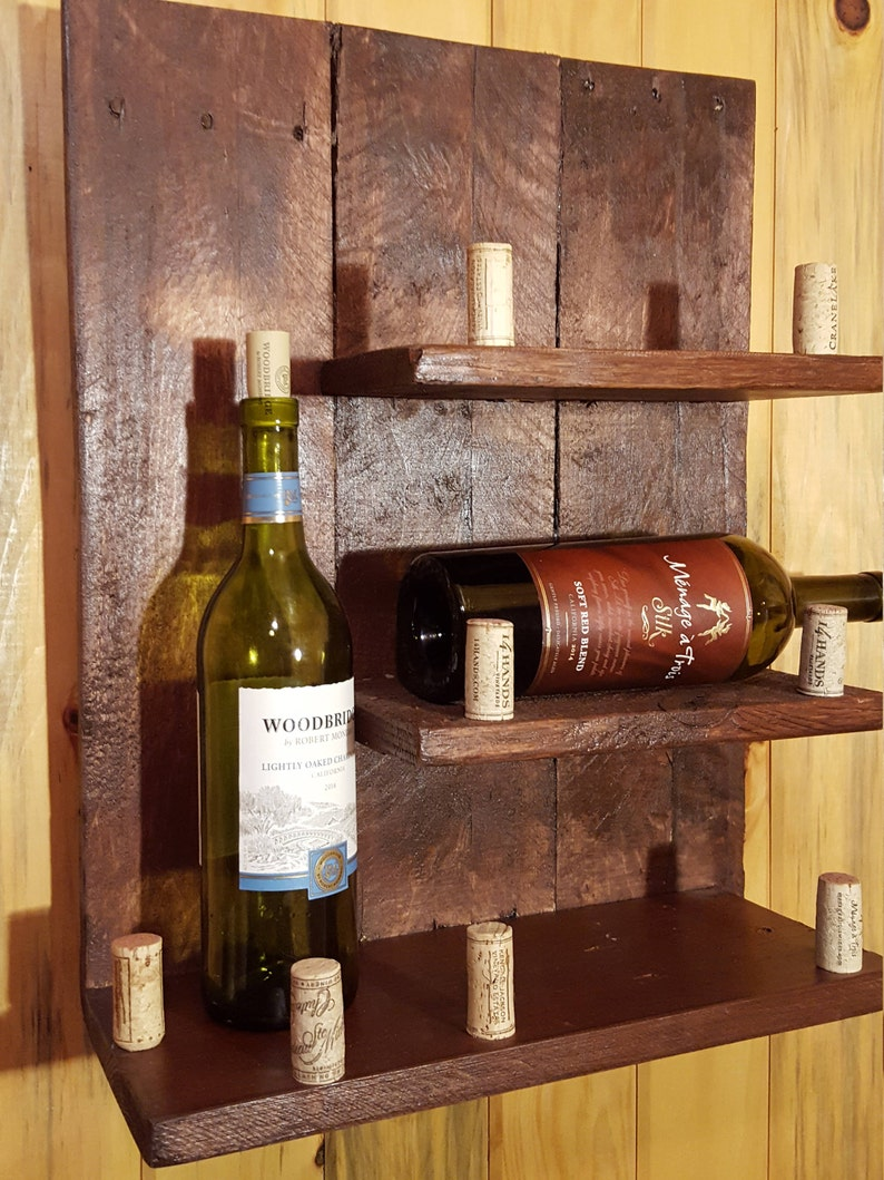 Wine Rack, Pallet Wall Shelf, Mahogany Colored, Rustic Decor, Home Accents,  Hanging, Upcycled, RePurposed, Man Cave, Bar Ware, Kitchen, Gift