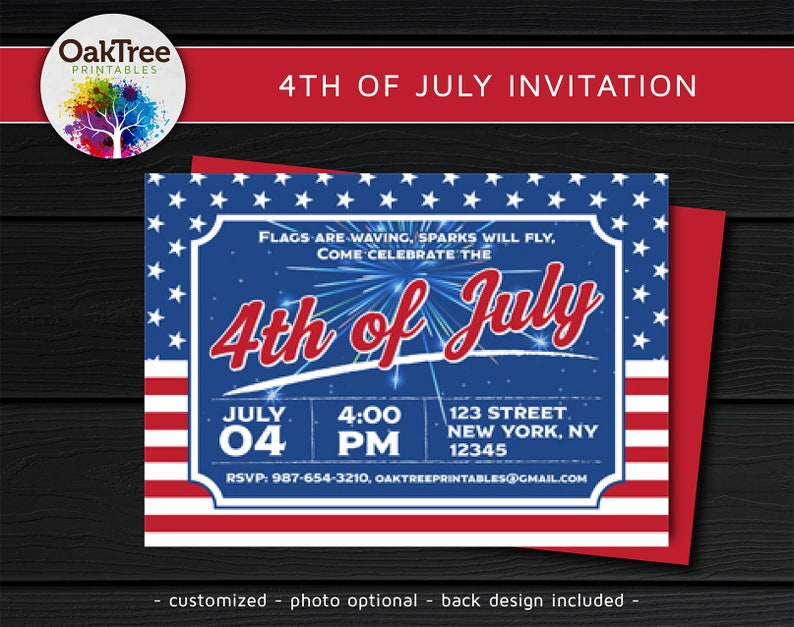 4th of July Invitation Custom Customized Printable DIY image 0
