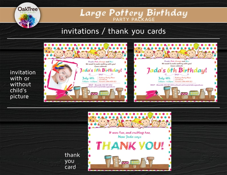 DIY Invitation Included Printable Large Pottery Art Painting Birthday Party Package Set 25 Items