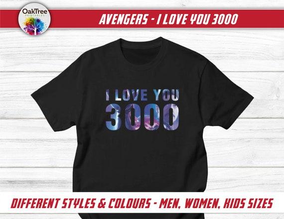 Personalised Birthday Name Kids T-Shirt Avengers Superhero I Love 3000 Iron man