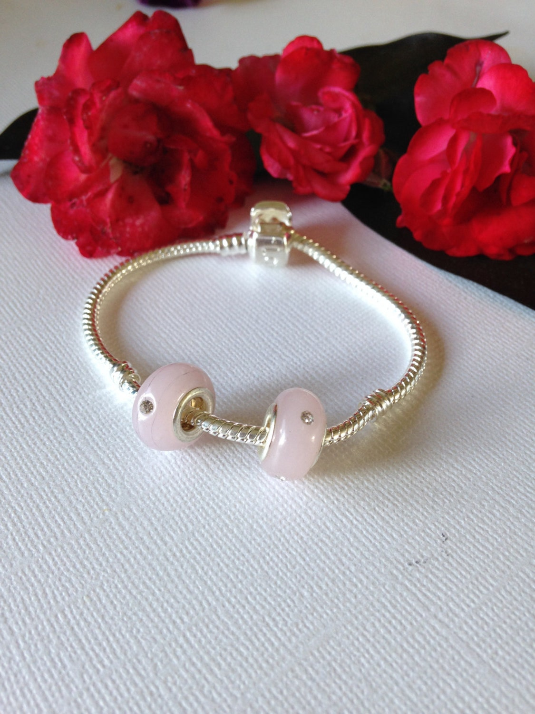 European charms 1 pink with rhinestone bracelet charm   Etsy