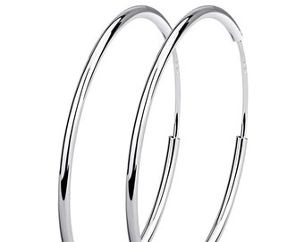 925 Sterling Silver Big to Small Hinged HOOP Earrings 20, 30, 40, 50, 60, 70 and 80 mm Diameter and  2 mm Thick