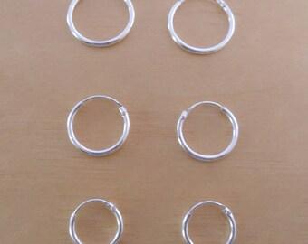 eef49ff42bc19 925 Sterling Silver Sleeper Hinged Thin HOOP Earrings 10 mm