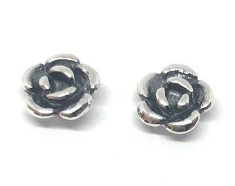 aad0aa7c15 925 Sterling Silver Small ROSE, Flower Stud Earrings, 6 mm Diameter