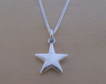 Star pendant etsy 925 sterling silver puffed 13 mm diameter star pendant charm on 16 18 or 20 silver curb chain aloadofball Images
