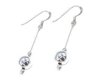 Long Ball Bead 925 Sterling Silver Drop Earrings Gift Boxed