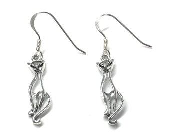 21284ffbb 925 Sterling Silver Drop Dangle Cat Kitten Earrings