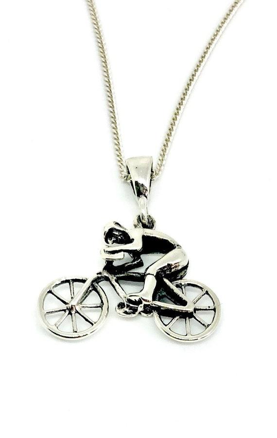925 Sterling Silber massiv Fahrrad Radfahrer Charm Anhänger mit 16, 18 oder 20
