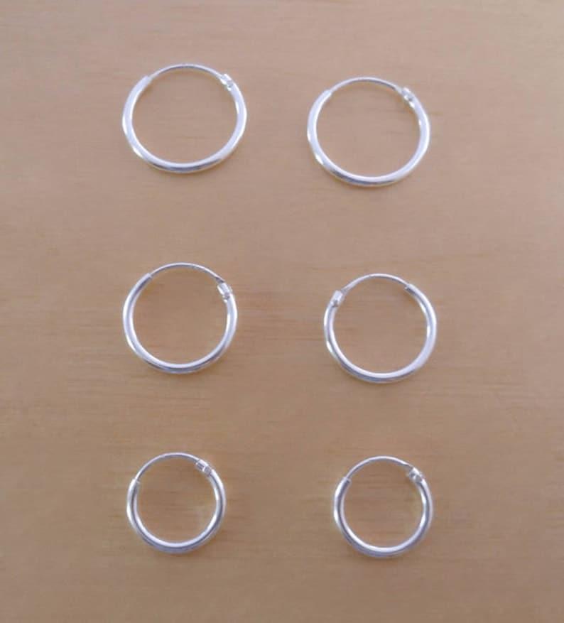 e394b7777311a2 925 Sterling Silver Sleeper Hinged Thin HOOP Earrings 10 mm | Etsy