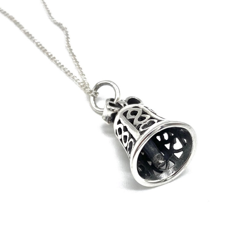 18 or 20 Sterling Silver Curb Chain or Without Chain 925 Sterling Silver Bell Pendant Charm on 16