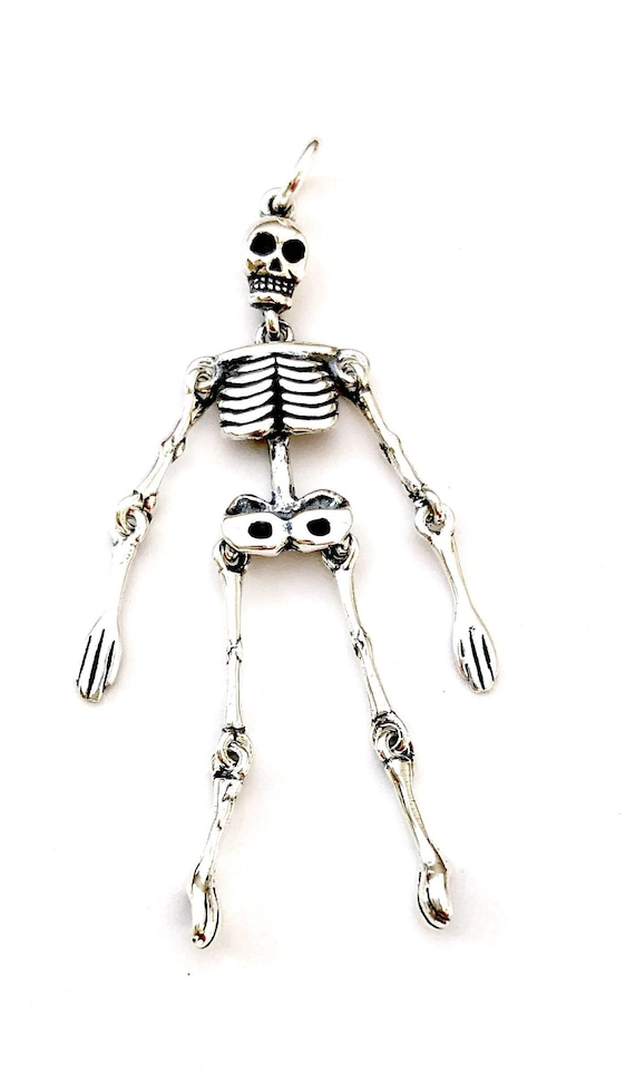 925 Sterling Silver Movable Body Arms Legs Gothic Skeleton Pendant on Curb Chain