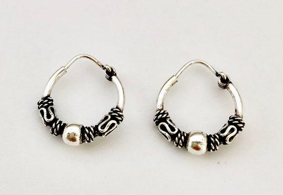 925 Sterling Silver Decorative Balinese Bali Sleeper Hoop Earrings 15mm Diameter