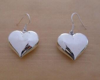 925 Sterling Silver, 25 mm BIG Drop, Dangling Puffed, Polished LOVE Heart Earrings