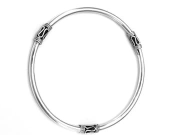 Bali, Balinese BANGLE Bracelet 65 mm Diameter & 3 mm Thickness 925 Sterling Silver