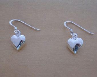 925 Sterling Silver, 10 mm Drop, Dangling Puffed, Polished LOVE Heart Earrings