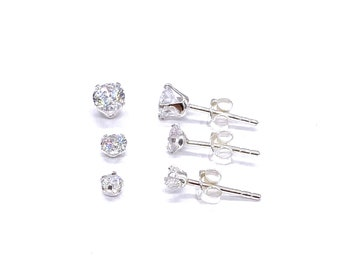925 Sterling Silver 3 mm, 4 mm & 5 mm Small Crystal Stone Ball Round Stud Earrings