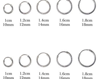 925 Sterling Silver Sleeper  Hinged Thin HOOP Earrings 10 mm, 12 mm, 14 mm, 16 mm or 18 mm Diameter and 1.5 mm Thickness