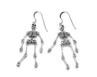 Skeleton Skull Drop Earrings 925 Sterling Silver Whole Body Gothic Movable Body Parts