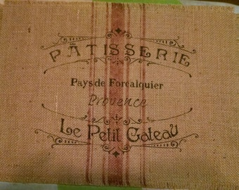 """Shabby Country French 13""""x18"""" Patisserie Burlap Placemat"""