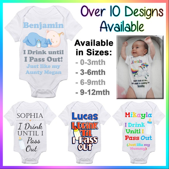 can be Personalised Size 0-3 Months White Drink Till I Pass Out Baby//Toddler Hoodie