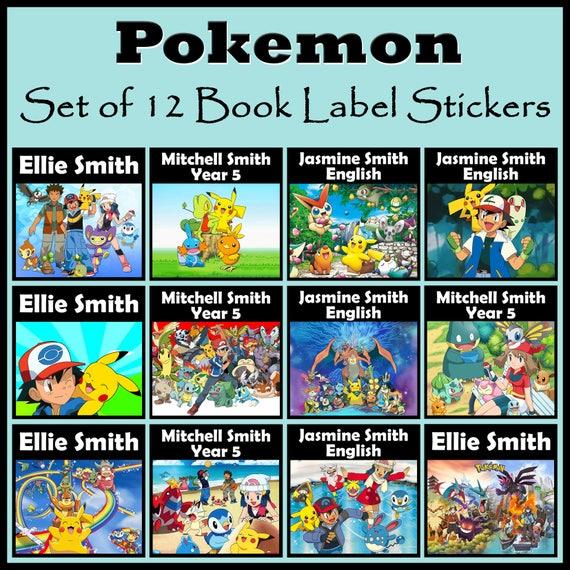 Livre Personnalise De Pokemon Label Stickers Lot De 12 N Importe Quel Nom Ou Texte Idee Cadeau Grands Pour Les Livres Scolaires