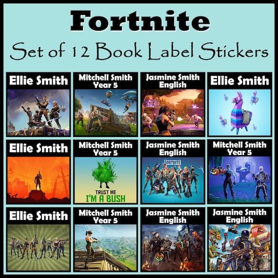 Personnalise Fortnite Livre Label Stickers Lot De 12 N Importe Quel Nom Ou Texte Idee Cadeau Ideal Pour Les Livres Scolaires Et Plus