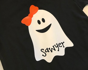 SAWYER ready to ship Personalized Ghost Halloween Kid Toddler Shirt