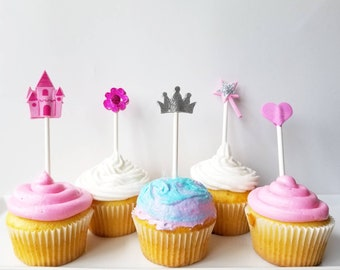 Princess party cupcake toppers