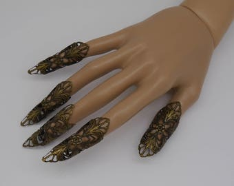 5pc silver Nails Elb Elfe Fantasy Filigree Claws