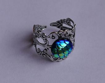 Mermaid ~ Ring ~ Meerjungfrau ~ Fischschuppen ~ skalen ~ Drachen ~ Schmuck ~ Fantasy ~ verstellbar