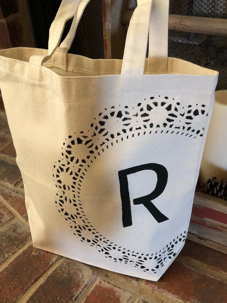 Initial Canvas Tote with Design 13.5x13.5