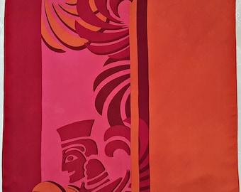 0b384895cd07 Vintage Authentic Michaela Frey Wille Egyptian Art Orange Red Silk 20