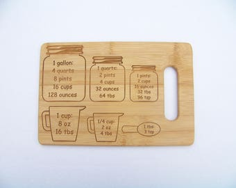 Bamboo cutting board with conversion measurements, great for every kitchen, housewarming present, cooks and bakers