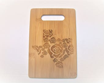 Texas Rose Cheese Board, Laser Engraved, Texas Strong, 6x9 cutting board
