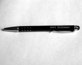 Personalized Engraved Pen with stylus, Teacher Gift, Guestbook pen, Groomsman gift, Business Give-Away, Party Favor, available in 4 colors