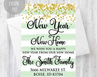 new year moving announcement card new year new home we moved card address change announcement new address card just moved announcement