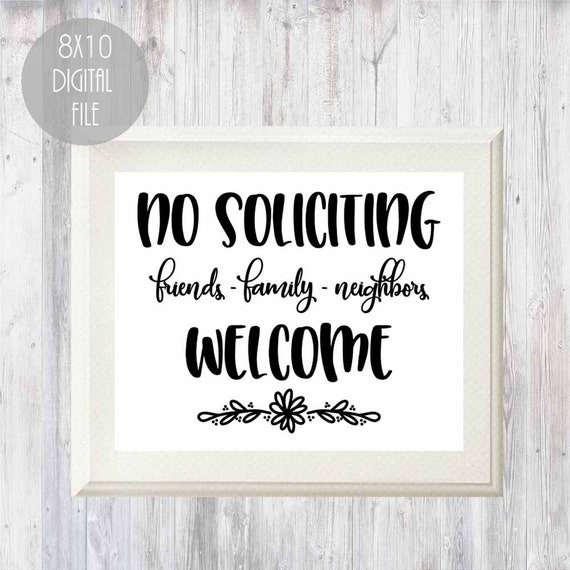 image relating to Funny No Soliciting Sign Printable known as Printable no soliciting signal, mates household neighbors welcome signal, electronic no soliciting signal, well mannered no solicitation indicator, do-it-yourself doorway indicator