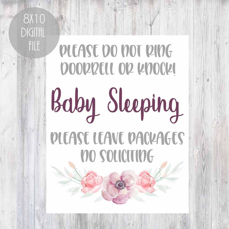 photograph relating to Baby Sleeping Sign Printable named Printable boy or girl sleeping indicator, rather floral do not ring doorbell or knock signal, sleeping kid signal, do not disturb little one sleeping signal