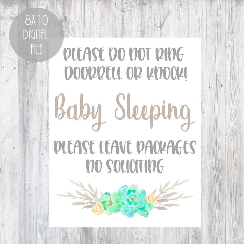 graphic regarding Baby Sleeping Sign Printable named Quite floral printable child sleeping indicator, do not ring doorbell or knock indication, sleeping kid signal, do not disturb youngster sleeping signal